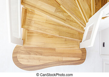bois escalier bois mener haut mur blanc escalier photographie de stock rechercher des. Black Bedroom Furniture Sets. Home Design Ideas