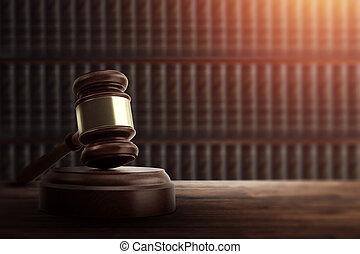 bois, espace, juge, punition, justice, corrompu, copie, marteau, droit & loi, concept, juge, table., court.
