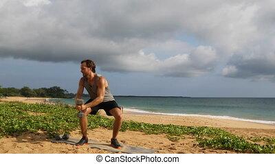bois, exercice, haltère, -, côtelette, fitness, tordre, ...