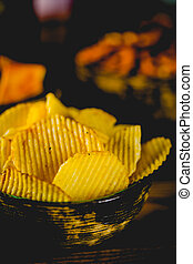 bois, fête, concept, chips, table