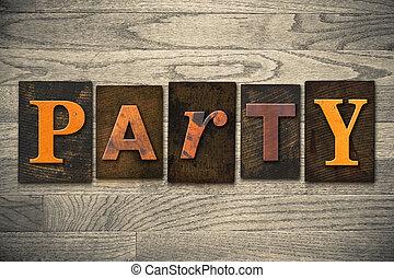 bois, fête,  concept,  type,  Letterpress
