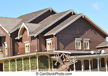 bois, façade, bâtiment