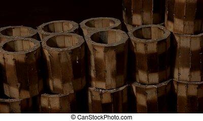 bois, fait main, groupe, workshop., grandes tasses