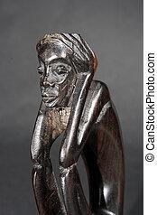bois, fait main, statue, africaine