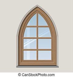 bois, fenêtre, arqué