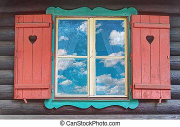 bois, fenêtre, chalet