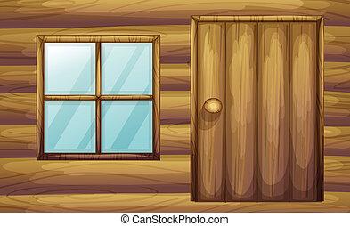bois, fenêtre, porte, salle