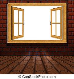 bois, fenêtre, salle