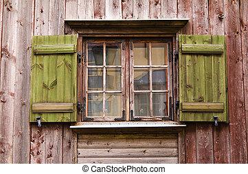 bois, fenêtre, vieux, volets