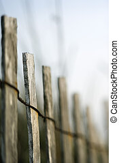bois, fence., plage