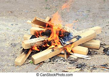 bois, feu camp, brûlé