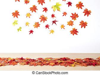 bois, feuilles automne, érable, table