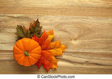 bois, feuilles automne, fond, citrouille