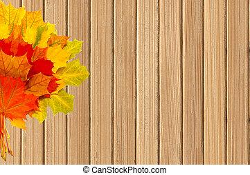 bois, feuilles, automne, fond, table, érable