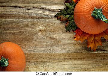 bois, feuilles automne, potirons, fond