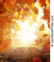 bois, feuilles automne, tomber, table