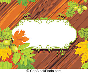 bois, feuilles, fond