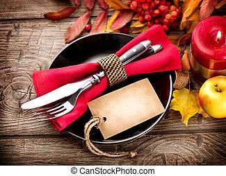 bois, feuilles, thanksgiving, automne, clair, servi, table, décoré