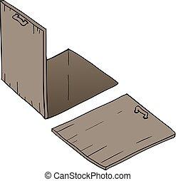 bois, fin, ouverture porte, plancher