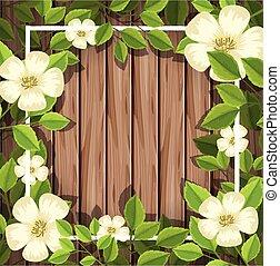bois, fleur blanche, planche
