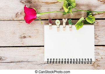 bois, fleur, vendange, valentine, livre texte, fond, rose,...