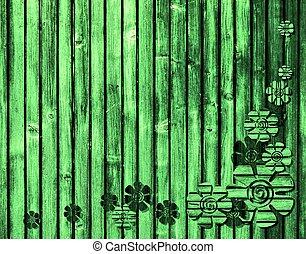 bois, fleurs, arrière-plan vert