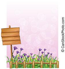 bois, fleurs, enseigne, jardin, lavande
