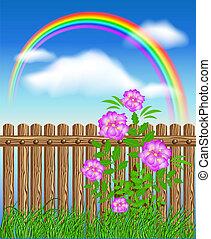 bois, fleurs, herbe verte, barrière