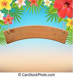 bois, fleurs tropicales, signe