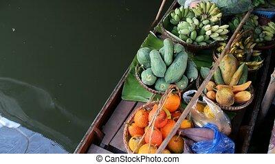 bois, flotter, rue, asiatique, sommet, nourriture, canoë, ...