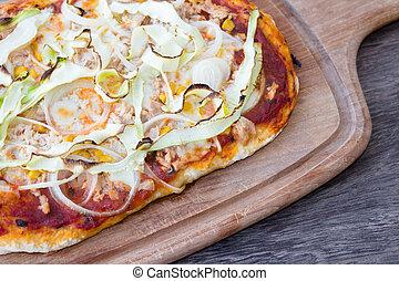 bois, fond, détail, fait maison, pizza