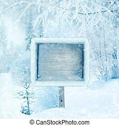 bois, forêt, hiver, signe