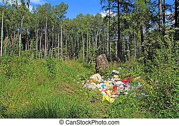 bois, fosse, déchets