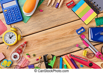 bois, fournitures, école, table., assorti