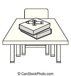bois, fournitures, chaise, schooldesk