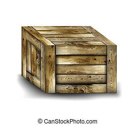 bois, fragile, box., vecteur