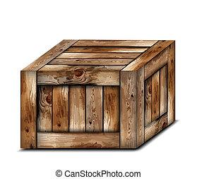 bois, fragile, box., vecteur, illustration