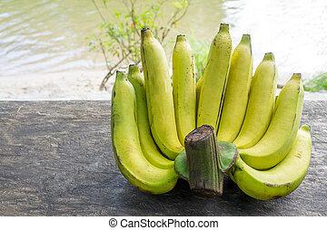 bois, frais, bananes, table