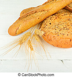 bois, frais, table., pain blé
