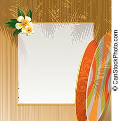 bois, frangipanier, fleurs, mur, bannière, planches surf