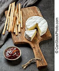 bois, fromage, planche découper, camembert