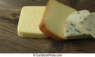 bois, fromages, différent, types, table