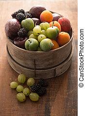 bois, fruit, sélection, bol, coloré