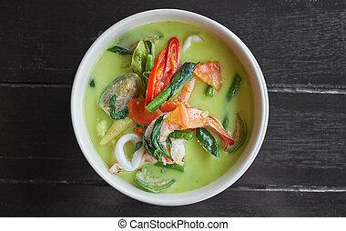 bois, fruits mer, nourriture., sombre, soupe, arrière-plan vert, thaï, curry