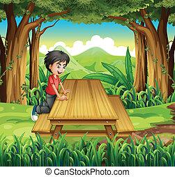 bois, garçon, table, forêt, banc