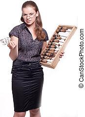 bois, grand, girl, comptes, argent