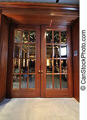 bois, grand, porte, restaurant