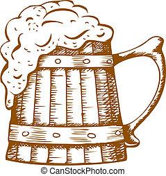 bois, grande tasse bière
