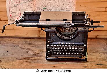 bois, guerre mondiale, regarde, vieux, machine écrire, table, premier, antiquité, grunge