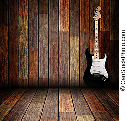 bois, guitare, électrique, salle